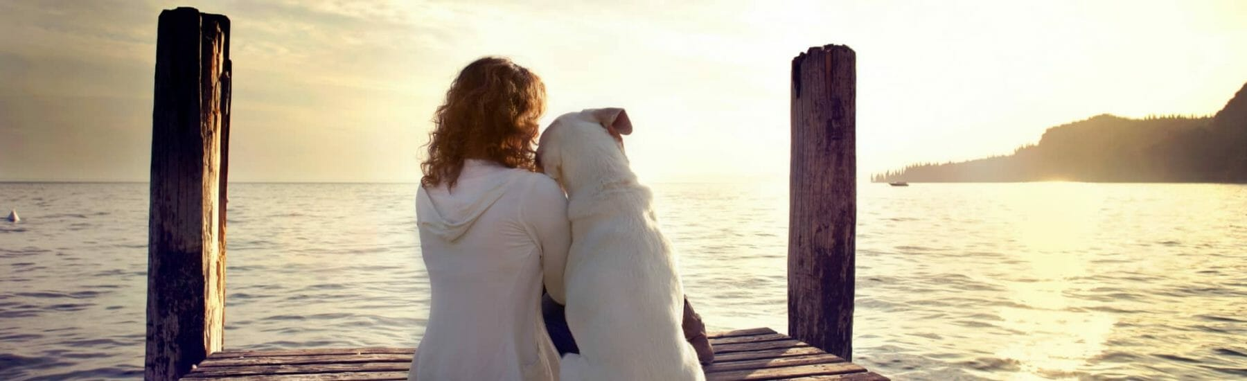 Girl and Dog Looking Out on a Dock